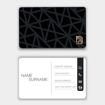 Black business card design.