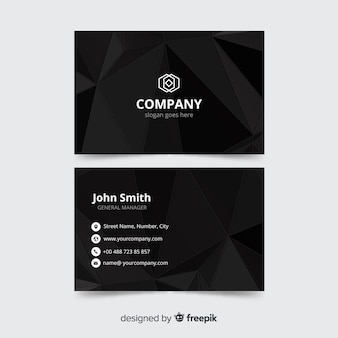 Black business card template, front and back design