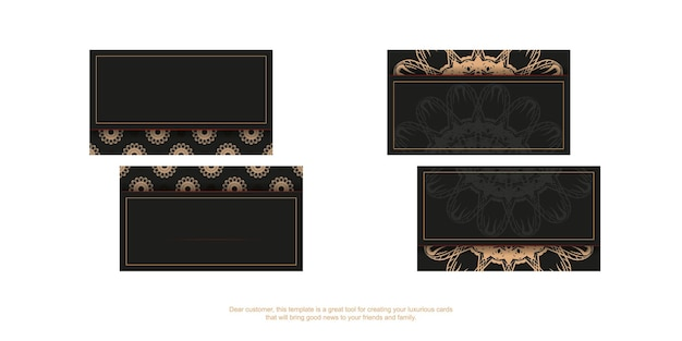 Black business card template with brown greek ornament