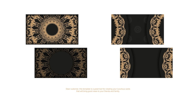Black business card template with brown luxury ornament