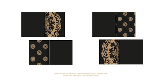 Black business card template with brown vintage ornament