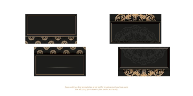 Black business card template with brown vintage pattern