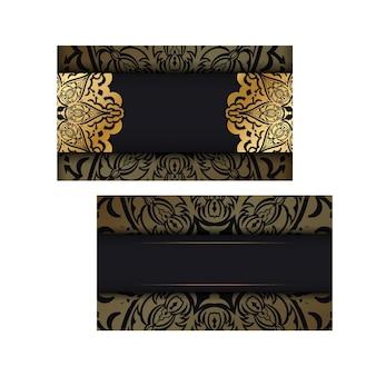 Черный шаблон визитной карточки с золотым индийским орнаментом