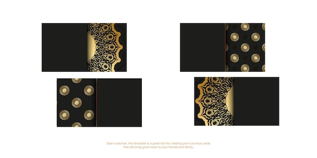 Black business card template with golden luxury ornament