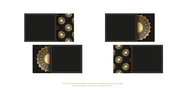 Black business card template with golden vintage ornament Premium Vector