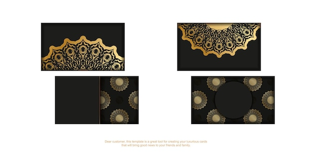 Black business card template with golden vintage ornament