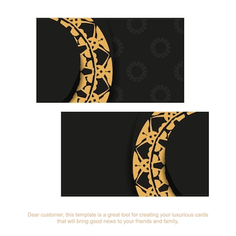 Black business card with brown indian pattern