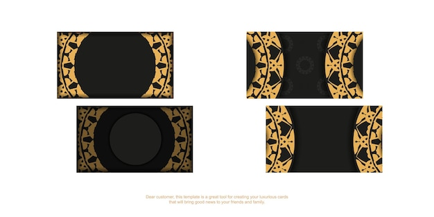 Black business card with brown luxury ornament