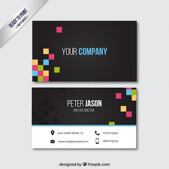 Black business card with colorful pixels