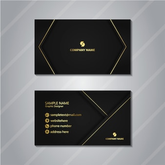 Black business card with gold accent
