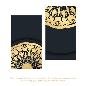 Black business card with greek gold ornaments for your brand.