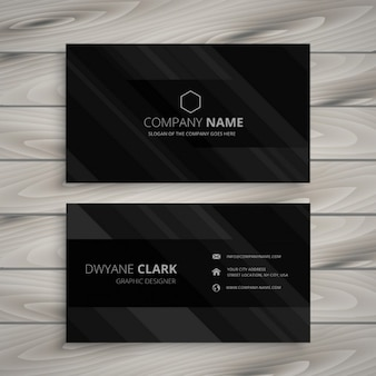 Black business card with grey stripes