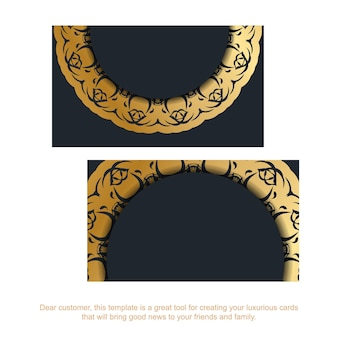 Black business card with indian gold pattern for your brand.
