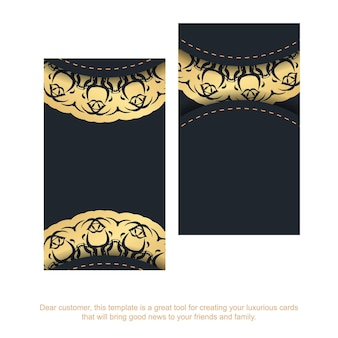 Black business card with indian gold pattern for your business.