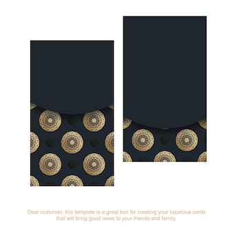 Black business card with indian gold pattern for your contacts.
