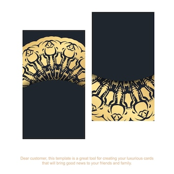Black business card with indian gold pattern for your personality.