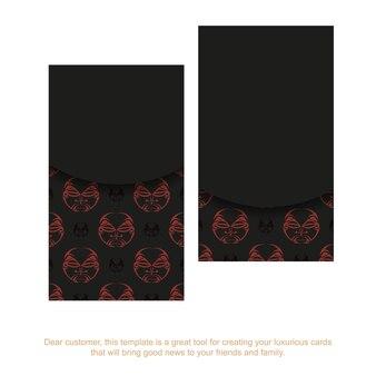 신들의 마스크가 있는 검은 명함 장식품. 폴리제니안 스타일 패턴으로 텍스트와 얼굴을 위한 공간이 있는 인쇄용 명함 디자인.