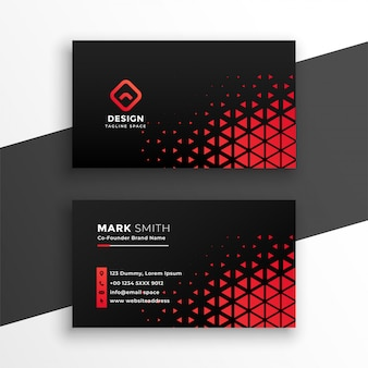 Black business card with red triangle shapes
