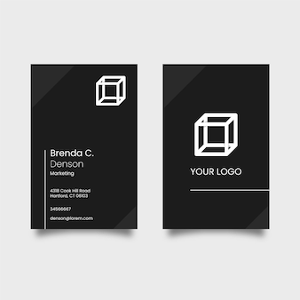 Black business card with white logo cube