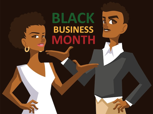 Черный деловой месяц с афро-женщинами и мужчинами, карикатурами на экономическое равенство и иллюстрацией темы празднования