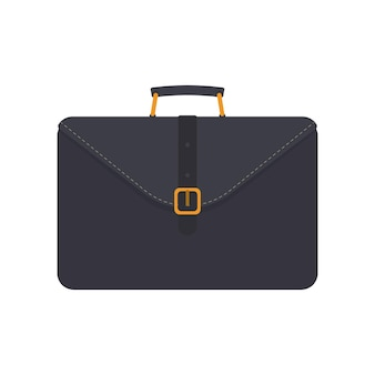 Black business suitcase. suitcase for documents or laptop. flat style. isolated. vector.