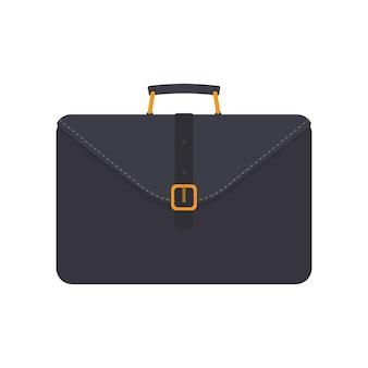 Черный деловой чемодан. чемодан для документов или ноутбука. плоский стиль. изолированный. вектор.