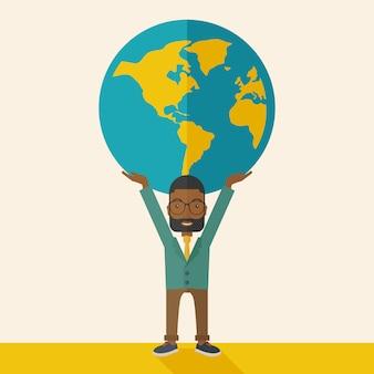 Black businessman carrying big globe.