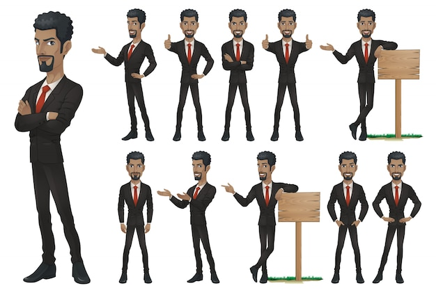 Black businessman character set