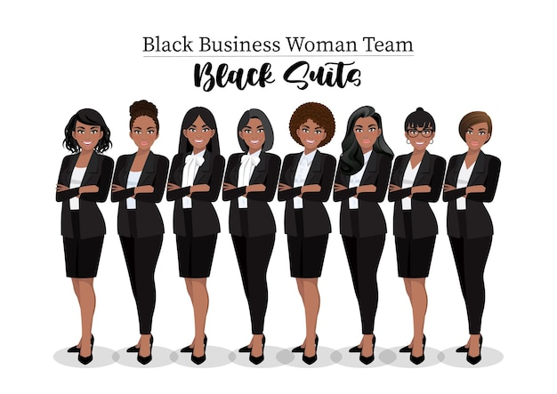Черная деловая женщина или американский африканский женский персонаж скрестили руки в позе черного костюма.