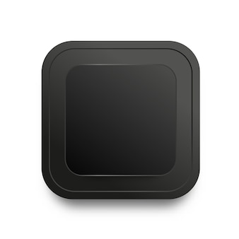 Black button template with realistic shadow isolated on white background