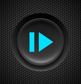 カーボンの背景に早送りの青い記号が付いた黒いボタン。