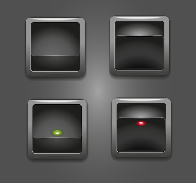 Black buttons switches with red and green square indicator  illustration