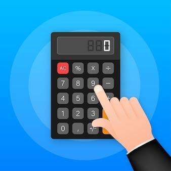 黒の電卓白の背景。モダンなデザイン。電子ポータブル電卓。ベクトルストックイラスト。