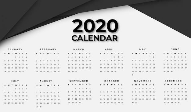 Black calendar 2020 template