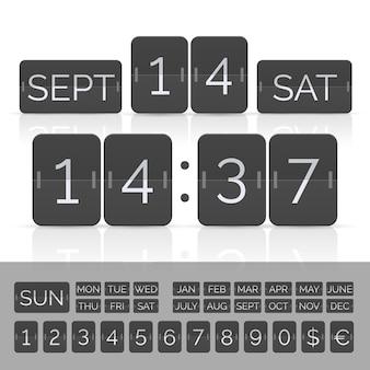 タイマーとスコアボード番号付きの黒いカレンダー。