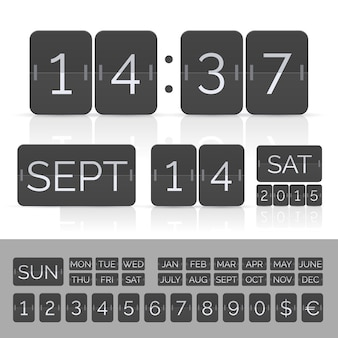 Black calendar with timer and scoreboard numbers.