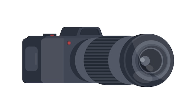 Black camera in 3d. the camera is isolated on a white background.