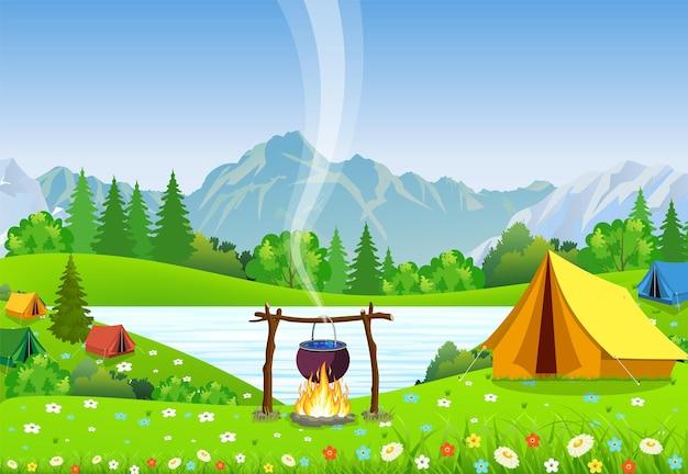 焚き火の上の黒いキャンプポット