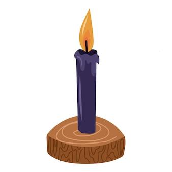 화재와 함께 검은 촛불. 요술 마법의 디자인 요소입니다. 벡터 손으로 그린 만화 그림입니다.