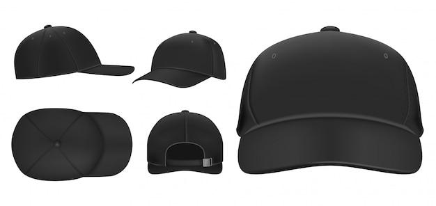 ブラックキャップ。スポーツ野球帽テンプレート、バイザー付き夏帽子、ユニフォーム帽子さまざまなビューのリアルな3dセット。頭飾りイラストパック。キャップ前面、上面、側面、背面図