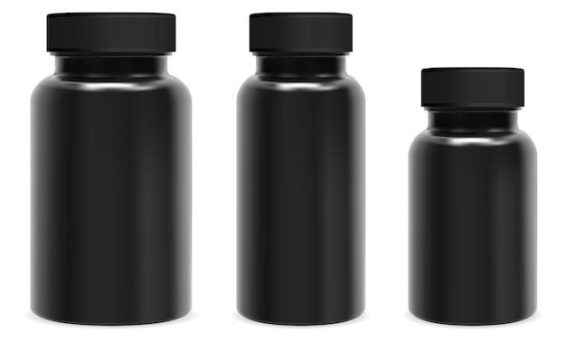 黒のカプセルボトル。ピルジャー、薬容器プラスチックパッケージ。サプリメントボトルブランクデザイン、医療用タブレットスクリュー包装テンプレート。