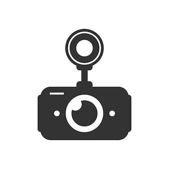 黒の車のdvrシンプルなアイコン。デジタルビデオレコーダー、事故防止、記録装置、白い背景で隔離のcctvモニターの概念。フラットスタイルトレンドモダンなロゴデザインベクトルイラスト