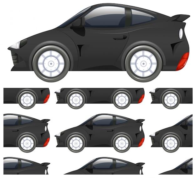 白で隔離される黒い車のシームレスなパターン