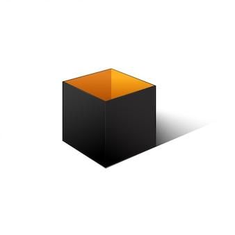 Black cardboard box isolated on white background.