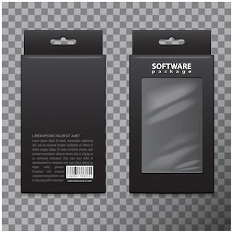 Черная картонная коробка set. пакет realistick для программного обеспечения, электронных устройств и других продуктов
