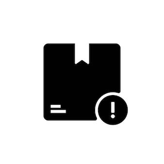 Значок коробки упаковки доставки черной коробки. значок восклицательного знака для отслеживания доставки одного пакета. предупреждение о безопасности упаковки. вектор eps 10. изолированный на белой предпосылке.