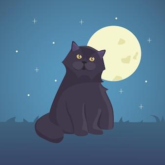 검은 만화 고양이 고립 된 그림 eps10