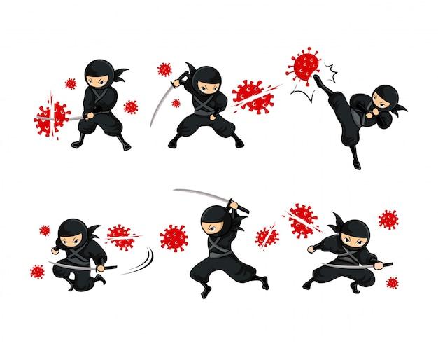 Black cartoon ninja fight coronavirus