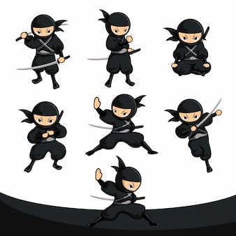 Black cartoon ninja samurai action pack