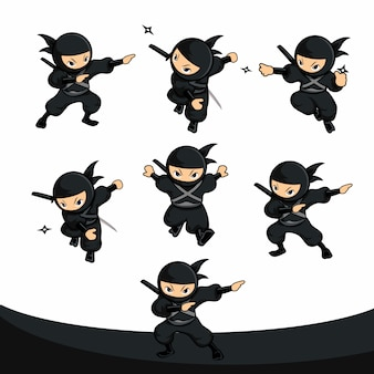 Black cartoon ninja using dart as weapon action pack